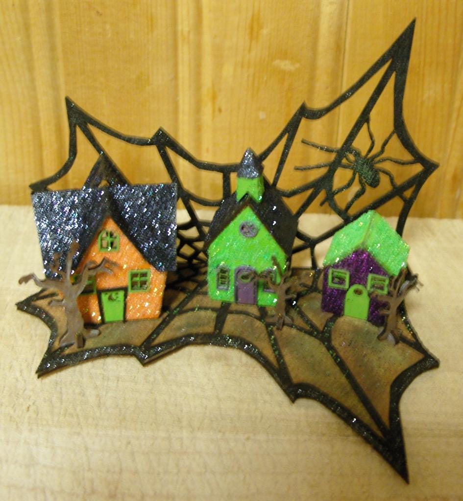 halloween spider glitter village